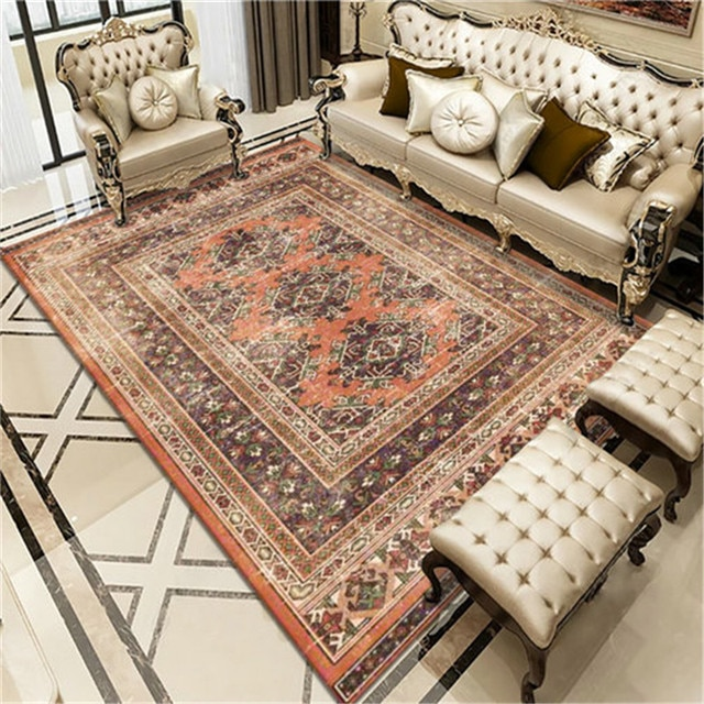 Vintage Bohemian Carpet for Living Room Rectangle Area Rugs Persian Style Rectangle Area Rugs Soft Non-Slip Bedroom Study Mats